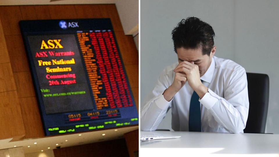 An ASX electronic board showing all red on the left, and a businessman despairing on the right.