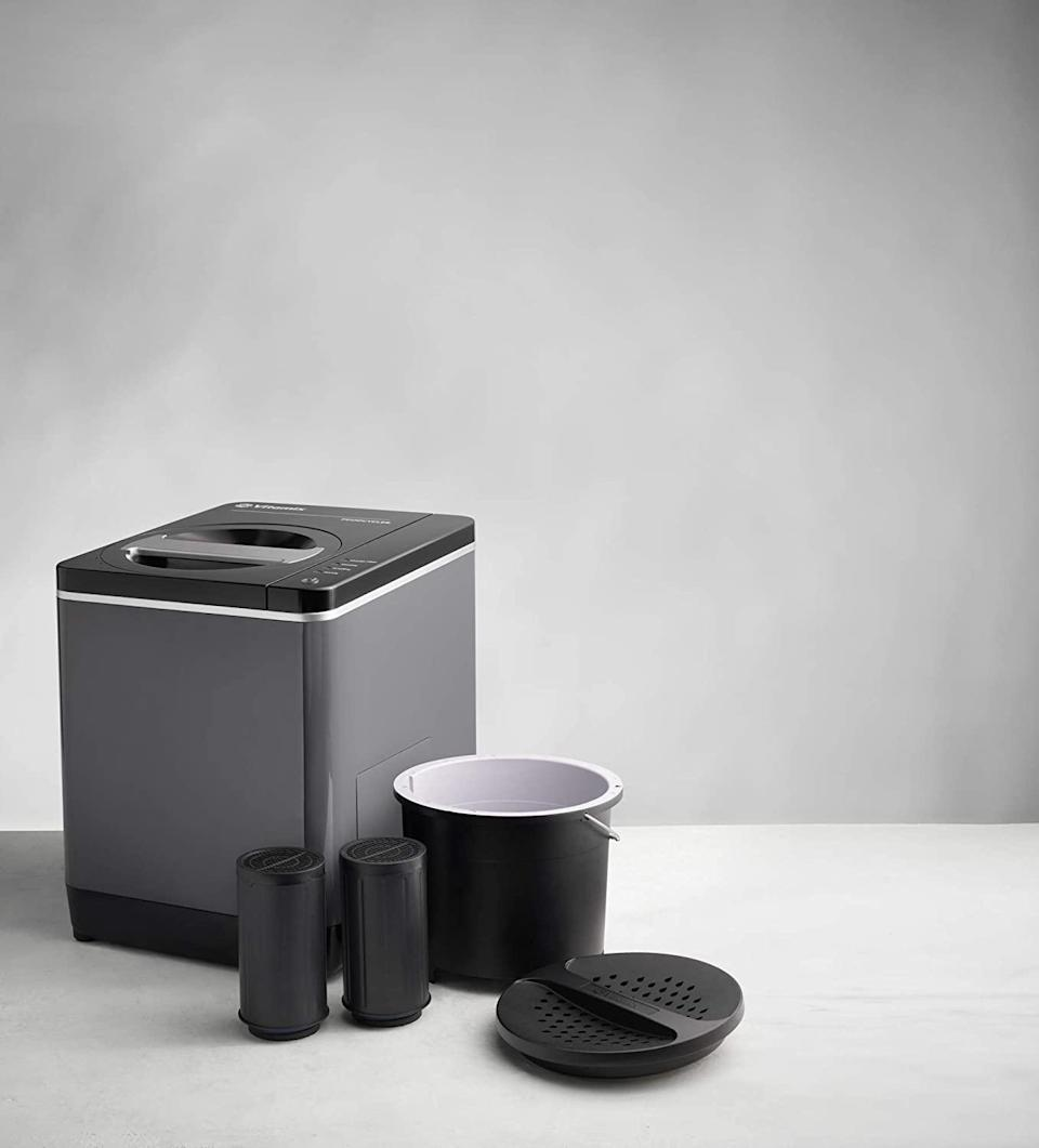 """<p>Want to help your dad cut down on kitchen waste with ease? This food cycler can take <a href=""""https://www.marthastewart.com/1538809/reduce-food-waste-tips-nrdc"""" rel=""""nofollow noopener"""" target=""""_blank"""" data-ylk=""""slk:your food waste"""" class=""""link rapid-noclick-resp"""">your food waste</a> items from scraps to fertilizer in four to six hours, cutting food waste by almost 90 percent. Additionally, the fertilizer the cycler produces can be used in the garden around his home to produce bigger, more bountiful blooms. It's a great option for someone who doesn't have the space for <a href=""""https://www.marthastewart.com/331845/composting-101"""" rel=""""nofollow noopener"""" target=""""_blank"""" data-ylk=""""slk:traditional composting"""" class=""""link rapid-noclick-resp"""">traditional composting</a>.</p> <p><strong><em>Shop Now: </em></strong><em>Vitamix 068051 FoodCycler FC-50, $399, </em><a href=""""https://www.amazon.com/Vitamix-068051-FoodCycler-FC-50-Capacity/dp/B08BQYXVNT/ref=as_li_ss_tl?ie=UTF8&linkCode=ll1&tag=mslggsustainablegiftsforeveryonelwellbanksep20-20&linkId=625d09955e8e86b1940cdb59085a57af"""" rel=""""nofollow noopener"""" target=""""_blank"""" data-ylk=""""slk:amazon.com"""" class=""""link rapid-noclick-resp""""><em>amazon.com</em></a><em>.</em></p>"""