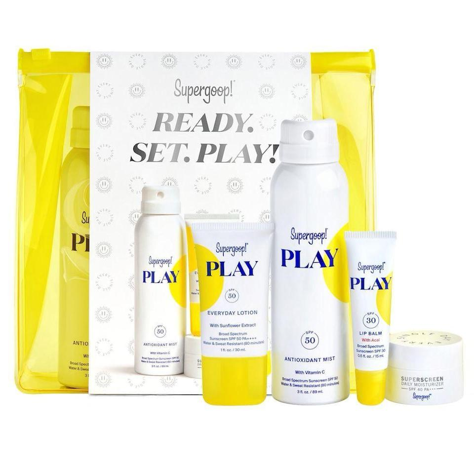 """<p><strong>Supergoop!</strong></p><p>sephora.com</p><p><strong>$45.00</strong></p><p><a href=""""https://go.redirectingat.com?id=74968X1596630&url=https%3A%2F%2Fwww.sephora.com%2Fproduct%2Fsupergoop-ready-set-play-kit-P461205&sref=https%3A%2F%2Fwww.menshealth.com%2Ftechnology-gear%2Fg34453261%2Fbest-gifts-for-sister%2F"""" rel=""""nofollow noopener"""" target=""""_blank"""" data-ylk=""""slk:BUY IT HERE"""" class=""""link rapid-noclick-resp""""> BUY IT HERE</a></p><p>She's your sis, so you're probably always asking <em>her</em> for skin care recs. Throw her for a loop with a gift set from cult-favorite clean beauty brand, Supergoop. Trust us, SPF is important to her and this antioxidant mist, lip balm, lotion, and moisturizer will protect and nourish her skin on her most active days. *Bonus points* if you preface it by explaining how it's vegan, cruelty-free, and reef safe.</p>"""