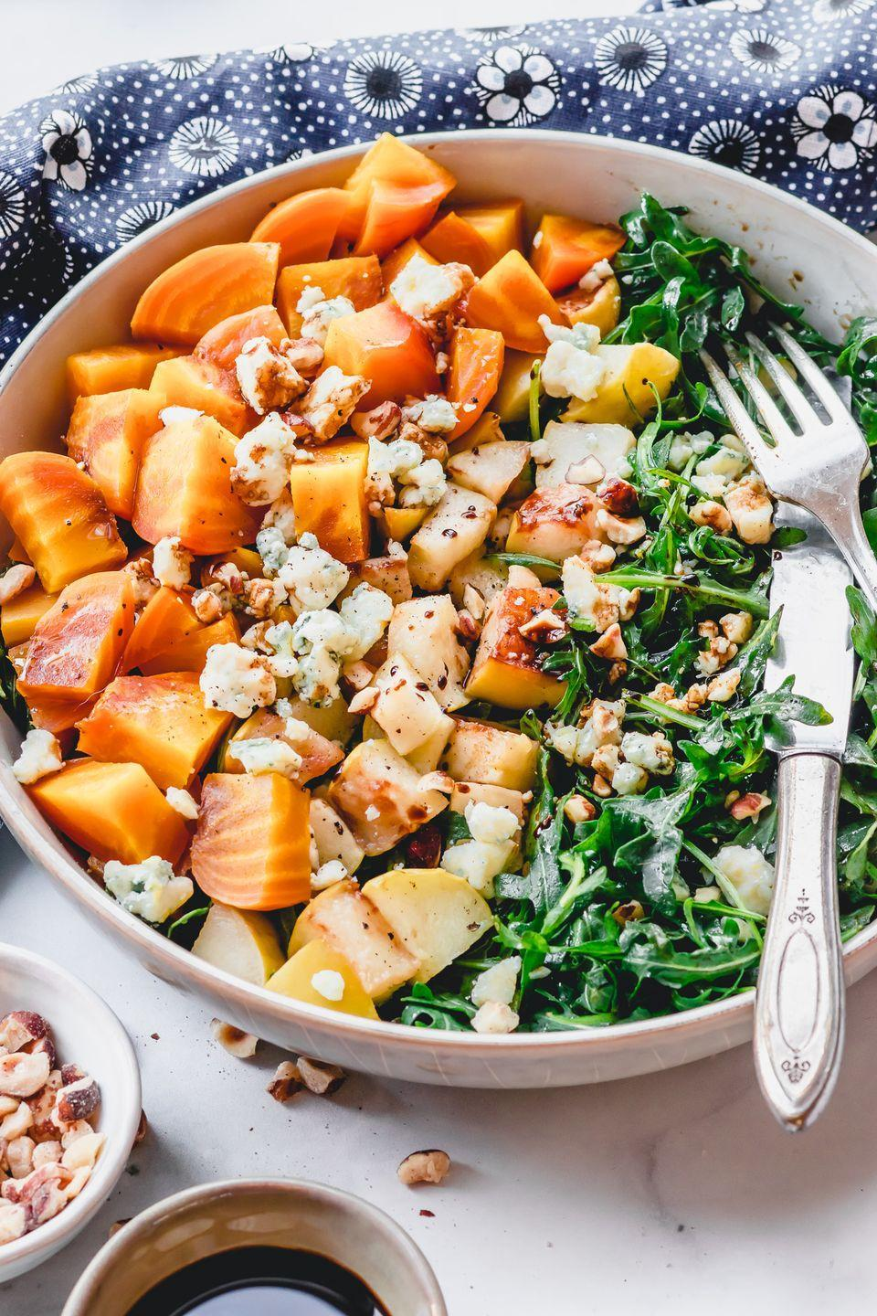 """<p>Roasted beets, fried apples, and gorgonzola cheese. This salad is so delicious you'll be licking the bowl.</p><p><strong>Get the recipe at <a href=""""https://www.rosalynndaniels.com/golden-beet-and-arugula-salad-with-fried-apples/"""" rel=""""nofollow noopener"""" target=""""_blank"""" data-ylk=""""slk:Rosalynn Daniels"""" class=""""link rapid-noclick-resp"""">Rosalynn Daniels</a>.</strong></p>"""