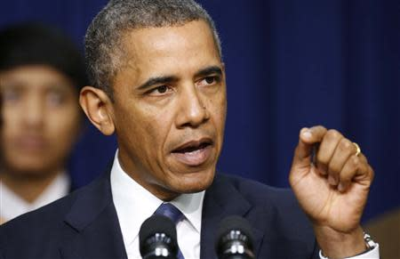 U.S. President Obama speaks about the economy at the White House in Washington