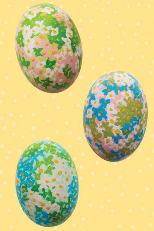 """<p>These fully floral eggs look so intricate, but the technique is straightforward: Just paint tiny X's for each flower, using a different color to paint dots at the center of each one.</p><p><em><a href=""""https://www.womansday.com/home/crafts-projects/g2216/easter-eggs/"""" rel=""""nofollow noopener"""" target=""""_blank"""" data-ylk=""""slk:Get more ideas from Woman's Day"""" class=""""link rapid-noclick-resp"""">Get more ideas from Woman's Day</a></em></p>"""