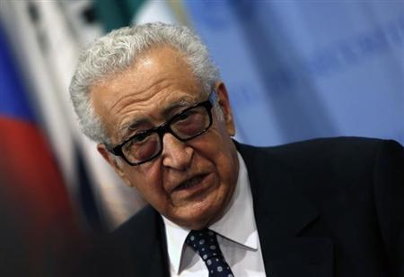 UN Special Envoy Lakhdar Brahimi talks to the media after briefing a United Nations Security Council meeting on Syria at U.N. headquarters in New York
