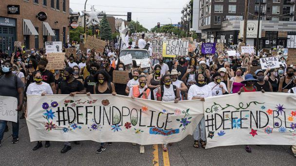 PHOTO: In this June 6, 2020, file photo, demonstrators calling to defund the Minneapolis Police Department march on University Avenue in Minneapolis. (Stephen Maturen/Getty Images, FILE)