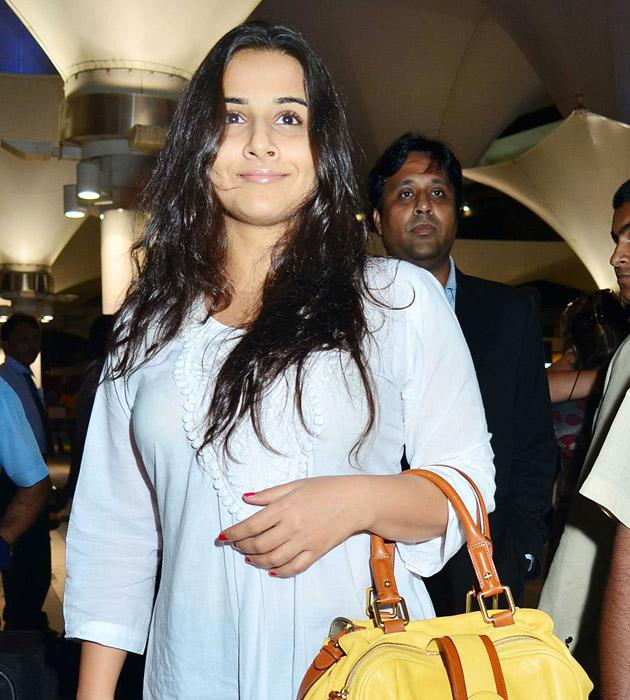 Vidya Balan looked happy to be back home