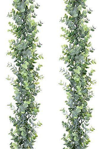 """<p>Want something other than pine garland? Faux eucalyptus garland adds a soft touch to stair railing.</p><p><a class=""""link rapid-noclick-resp"""" href=""""https://www.amazon.com/dp/B07PHFVRM2?tag=syn-yahoo-20&ascsubtag=%5Bartid%7C2164.g.37723896%5Bsrc%7Cyahoo-us"""" rel=""""nofollow noopener"""" target=""""_blank"""" data-ylk=""""slk:SHOP FAUX GARLAND"""">SHOP FAUX GARLAND</a></p>"""