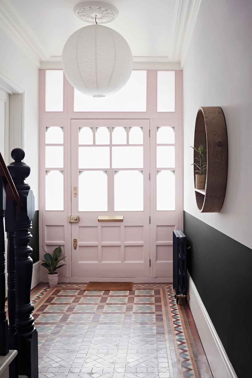 """<p>Painting a front door is an inexpensive way to freshen up the exterior of your home. Need some inspiration? Blue and grey are among the most <a href=""""https://www.housebeautiful.com/uk/decorate/exterior/a35127582/popular-door-colours-instagram/"""" rel=""""nofollow noopener"""" target=""""_blank"""" data-ylk=""""slk:Instagrammable shades for 2021"""" class=""""link rapid-noclick-resp"""">Instagrammable shades for 2021</a>, while a previous study found <a href=""""https://www.housebeautiful.com/uk/lifestyle/property/a32795739/front-door-colour-boost-house-value/"""" rel=""""nofollow noopener"""" target=""""_blank"""" data-ylk=""""slk:bright blue"""" class=""""link rapid-noclick-resp"""">bright blue</a> doors could boost your property value by £4,000.</p><p>'Statement doors have become very popular recently, with people opting for a bright blue, a vibrant yellow or soft pastel shades,' says Matthew Brown, <a href=""""https://www.sandtex.co.uk/"""" rel=""""nofollow noopener"""" target=""""_blank"""" data-ylk=""""slk:Sandtex"""" class=""""link rapid-noclick-resp"""">Sandtex</a> Technical Consultant. 'These colours can really make your property stand out and give it a more modern feel.'</p><p>Pictured: Crown Breatheasy Creme de la Rose, £22 at <a href=""""https://go.redirectingat.com?id=127X1599956&url=https%3A%2F%2Fwww.homebase.co.uk%2Fcrown-breatheasy-creme-de-la-rose-matt-standard-emulsion-paint-5l%2F12809689.html&sref=https%3A%2F%2Fwww.housebeautiful.com%2Fuk%2Fdecorate%2Fhallway%2Fg36617179%2Finstagrammable-hallway-ideas%2F"""" rel=""""nofollow noopener"""" target=""""_blank"""" data-ylk=""""slk:Homebase"""" class=""""link rapid-noclick-resp"""">Homebase</a></p>"""