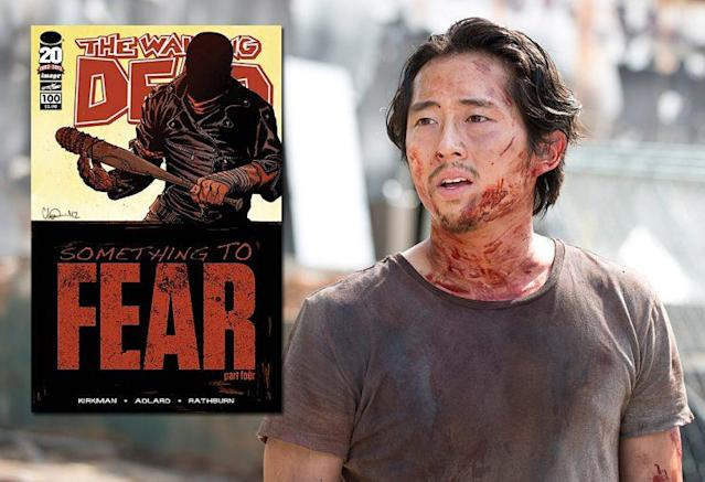 'The Walking Dead' issue #100 and Steven Yeun as Glenn on AMC's 'The Walking Dead' (Photo Credit: Image Comics/AMC)