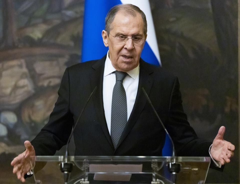 Russian Foreign Minister Sergey Lavrov gestures while speaking to journalists during a joint news conference with Palestinian Foreign Minister Riyad Al-Maliki following their talks in Moscow, Russia, Wednesday, May 5, 2021. (AP Photo/Alexander Zemlianichenko, Pool)