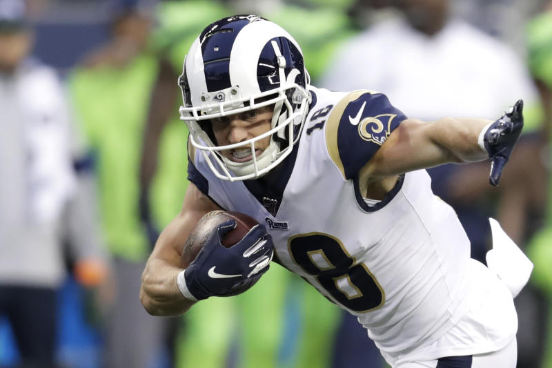 Los Angeles Rams wide receiver Cooper Kupp carries the ball against the Seattle Seahawks during an NFL football game, Thursday, Oct. 3, 2019, in Seattle. (AP Photo/Stephen Brashear)