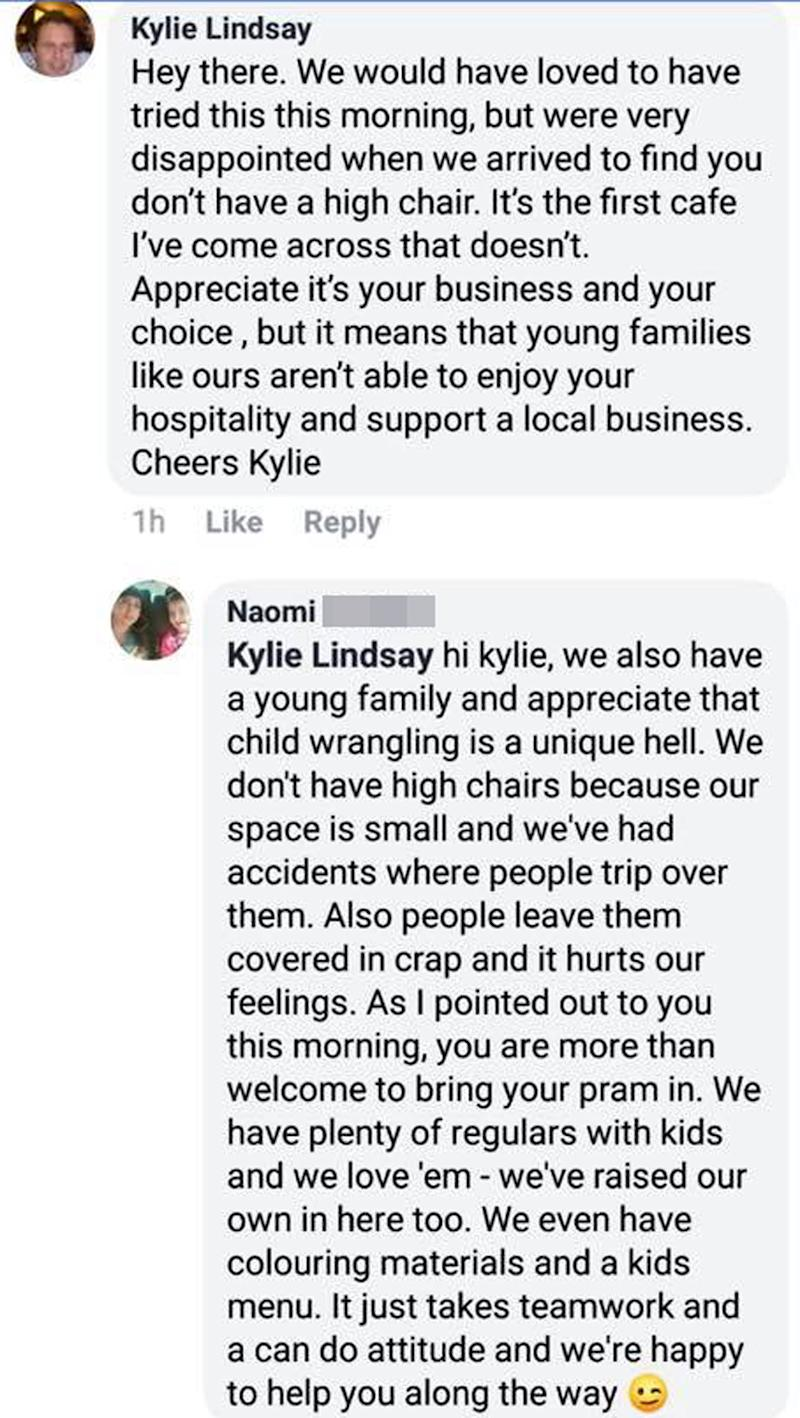 Kylie Lindsay's Facebook review and response from The Low Road Cafe's co-owner Naomi. She explains the cafe doesn't have high chairs because people trip over them and leave a mess on them.