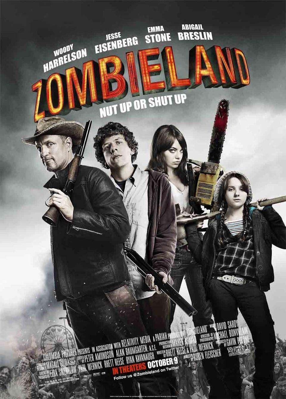 """<p>In an attempt to survive a zombie apocalypse, Columbus (Jesse Eisenberg) travels with Tallahassee (Woody Harrelson), Wichita (Emma Stone), and Little Rock (Abigail Breslin) fighting zombies and attempting to find some sort of relief from the chaos. </p><p>As a bonus, if you watch <em>Zombieland </em>this Halloween season, you'll be prepared to watch <em>Zombieland: Double Tap</em>.</p><p><a class=""""link rapid-noclick-resp"""" href=""""https://www.amazon.com/Ashley-Lambert/dp/B003AMEWDG/?tag=syn-yahoo-20&ascsubtag=%5Bartid%7C10065.g.29354714%5Bsrc%7Cyahoo-us"""" rel=""""nofollow noopener"""" target=""""_blank"""" data-ylk=""""slk:Watch Now"""">Watch Now</a></p>"""