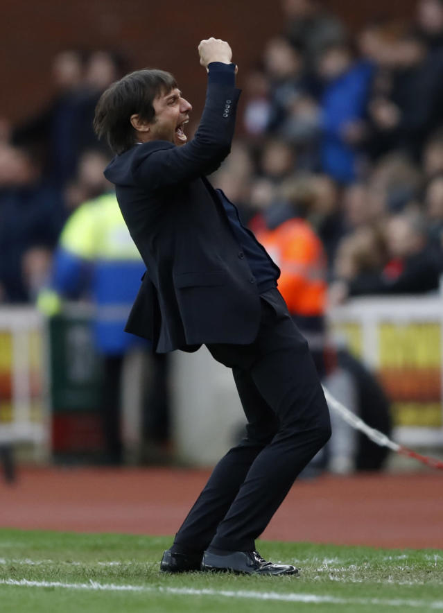 """<p>Britain Football Soccer – Stoke City v Chelsea – Premier League – bet365 Stadium – 18/3/17 Chelsea manager Antonio Conte celebrates after the game Action Images via Reuters / Carl Recine Livepic EDITORIAL USE ONLY. No use with unauthorized audio, video, data, fixture lists, club/league logos or """"live"""" services. Online in-match use limited to 45 images, no video emulation. No use in betting, games or single club/league/player publications. Please contact your account representative for further details. </p>"""