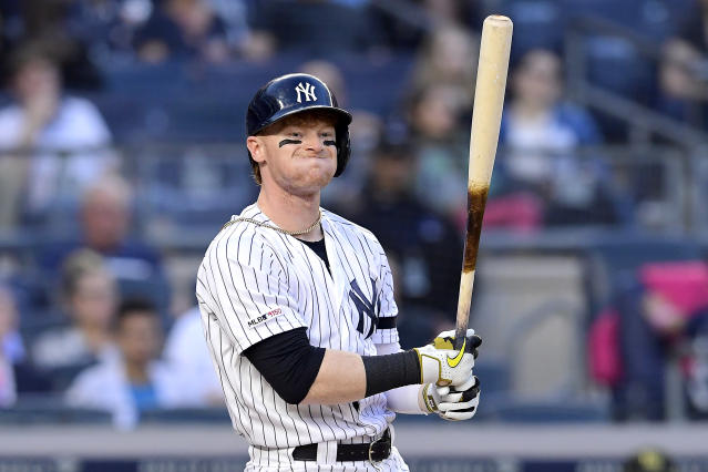 NEW YORK, NEW YORK - MAY 17: Clint Frazier #77 (Photo by Steven Ryan/Getty Images)