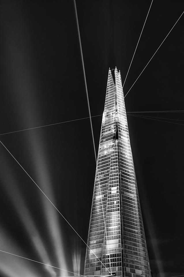 'Inauguration', The Shard, London: Giles McGarry's was high commended in the Urban View category for his picture of the laser show at the Shard, Europe's tallest inhabited building. (Giles McGarry, Landscape Photographer of the Year)