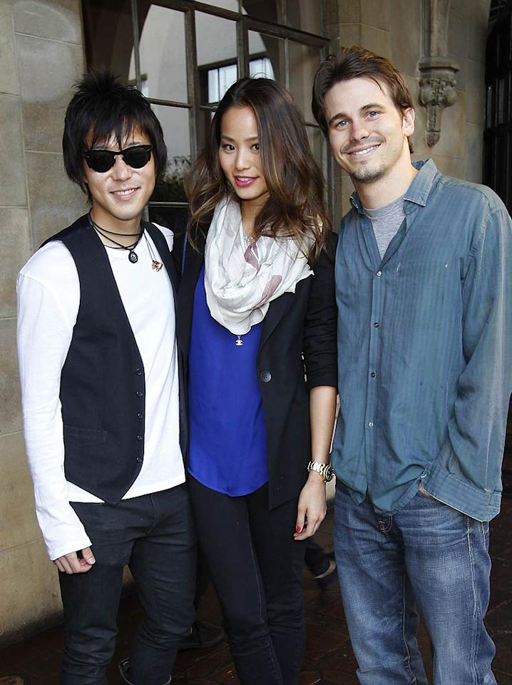 "Although his TV series, ""The Event,"" was recently canceled by NBC, Jason Ritter (far right) was all smiles while hanging with Aaron Yoo (""Disturbia"") and Jamie Chung (""The Hangover 3""). Donato Sardella/<a href=""http://www.gettyimages.com/"" target=""new"">GettyImages.com</a> - May 15, 2011"