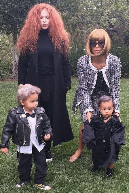 <p>As Anna Wintour and Andre Leon Talley with Joyce Bonelli and her son as Grace Coddington and Karl Lagerfeld.</p>