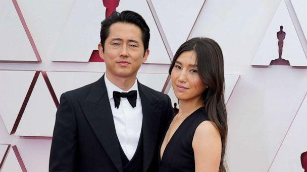 PHOTO: Steven Yeun and Joana Pak attend the 93rd Annual Academy Awards, April 25, 2021, in Los Angeles.  (Pool/Getty Images)
