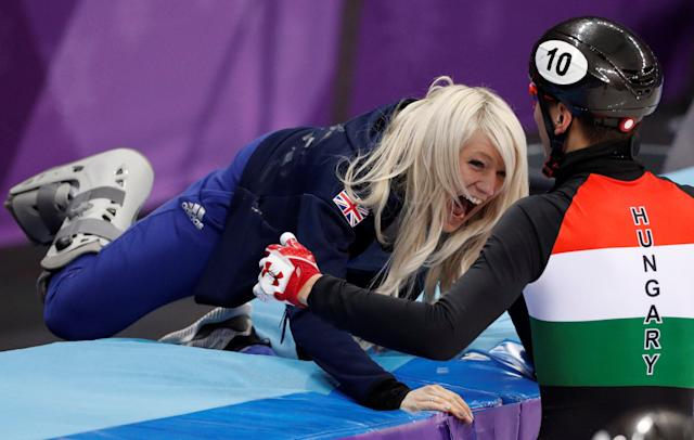 Short Track Speed Skating Events - Pyeongchang 2018 Winter Olympics - Men's 5000m Relay Final - Gangneung Ice Arena - Gangneung, South Korea - February 22, 2018 - Shaolin Sandor Liu of Hungary celebrates with Elise Christie of Britain. REUTERS/John Sibley TPX IMAGES OF THE DAY