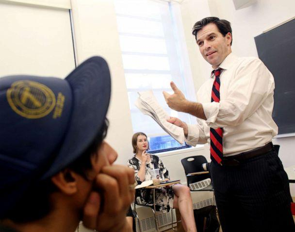 PHOTO: Jeff Smith lectures a class on public policy, prison reform and life at the Milano School of International Affairs at The New School in Manhattan, NY, on September 16, 2015. (Yana Paskova/For The Washington Post via Getty Images)