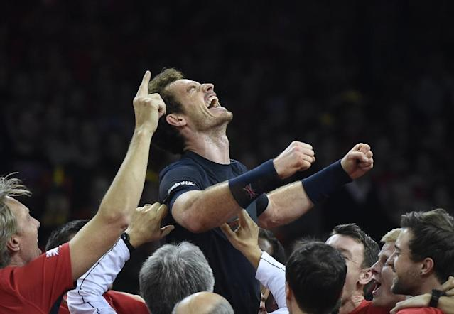 Andy Murray all but singlehandedly ended Britain's 79 year hiatus in winning their 10th Davis Cup when they beat Belgium in 2015 (AFP Photo/JOHN THYS)