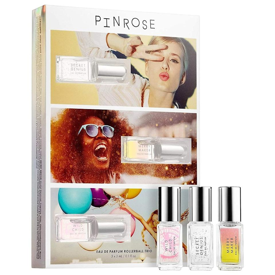 """<a href=""""https://www.allure.com/gallery/best-new-fall-fragrances-2015?mbid=synd_yahoo_rss"""" rel=""""nofollow noopener"""" target=""""_blank"""" data-ylk=""""slk:Fragrance"""" class=""""link rapid-noclick-resp"""">Fragrance</a> is very personal, which is why gifting a variety pack like Pinrose's Greatest Hits Kit Perfume Set is a great option. With three different fragrance oils to choose from, your giftee can hone in on their favorite, or create their own blend, which will be unique to them. The set includes Secret Genius, a sweet mix of caramel, Madagascan vanilla, and sandalwood; Wild Child, a fruity floral with Tiare flower, jasmine, and vanilla; and Merry Maker, a bright nectarine, violet, and Tonka bean-laced perfume."""