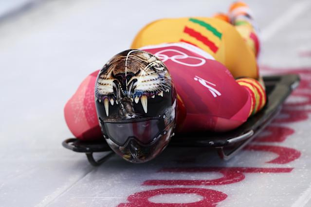 <p>Ghana's Akwasi Frimpong has had one of the most popular helmets of the 2018 PyeongChang Games with his teeth-baring jaguar. </p>