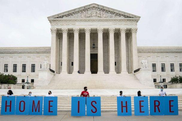PHOTO: DACA recipients and their supporters rally outside the U.S. Supreme Court on June 18, 2020 in Washington, DC. (Drew Angerer/Getty Images)