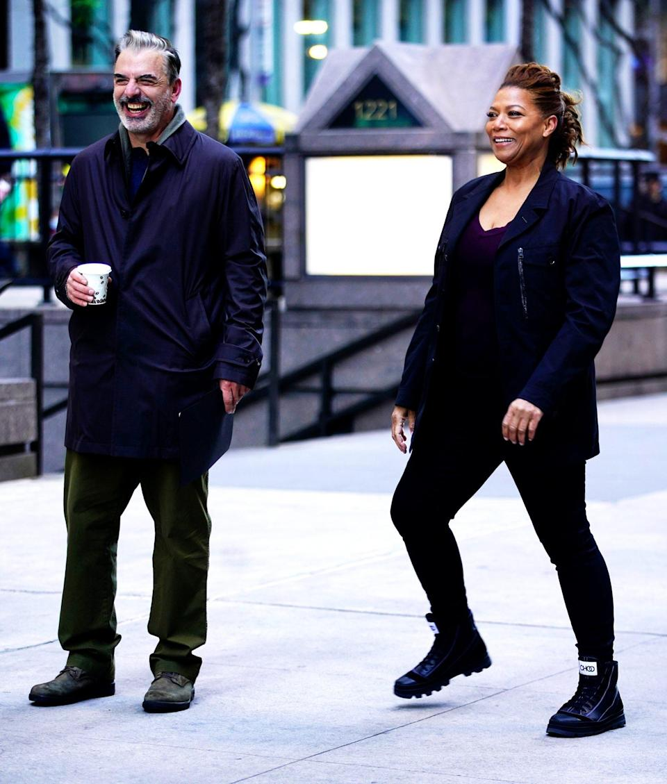 <p>Chris Noth and Queen Latifah crack up while filming a scene for <i>The Equalize</i>r in N.Y.C. on Wednesday. </p>