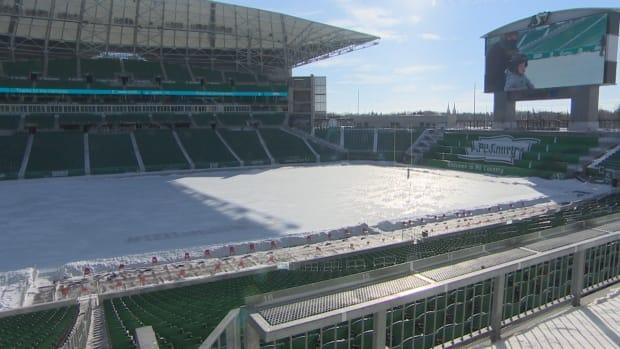 Iceville at Mosaic Stadium was built in 2,400 hours, said Tim Reid, CEO and president of REAL. Once created, over 400 hours were spent to maintain it.  (CBC - image credit)