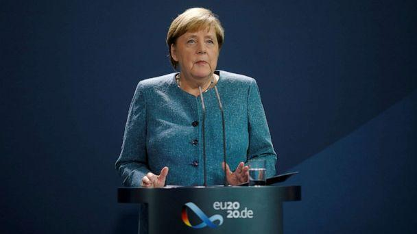 PHOTO: German Chancellor Angela Merkel speaks to the media in Berlin, Sept. 2, 2020. (Markus Schreiber/Reuters)
