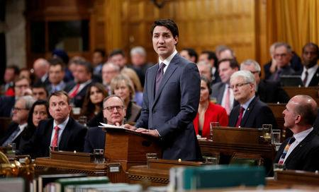 FILE PHOTO: Canada's PM Trudeau speaks on Parliament Hill in Ottawa