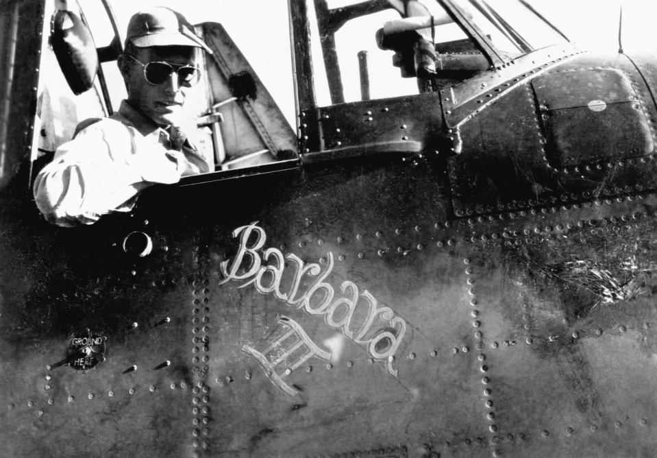 U.S. Navy pilot George Bush sits in the cockpit of his torpedo bomber, the Barbara III, named after his girlfriend and future wife, Barbara Pierce, in 1944. (Photo: Corbis/Getty Images)