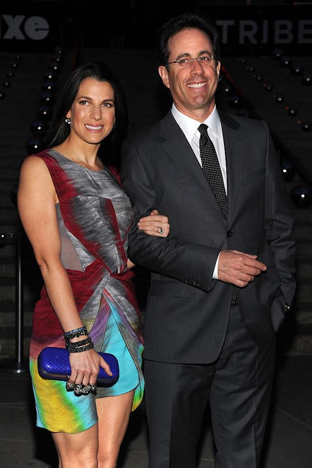 """<a href=""""http://movies.yahoo.com/movie/contributor/1800082168"""">Jerry Seinfeld</a> and Jessica Seinfeld at the 9th Annual Tribeca Film Festival Vanity Fair party in New York City on April 20, 2010."""