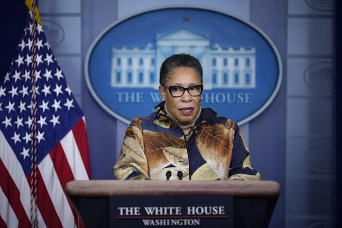 Secretary of Housing and Urban Development Marcia Fudge speaks during the daily press briefing at the White House on March 18, 2021 in Washington, DC. (Photo by Drew Angerer/Getty Images)