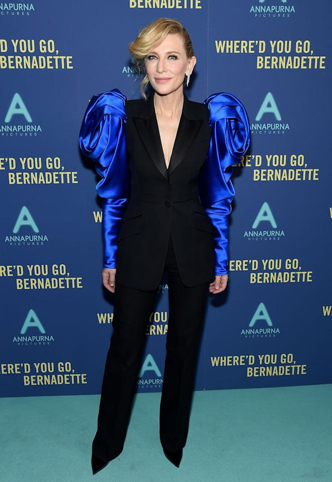 <p><strong>12 August </strong>Cate Blanchett attended the New York premiere of <em>Where'd You Go, Bernadette </em>in a statement sleeve Alexander McQueen suit. <em></em><strong></strong></p>