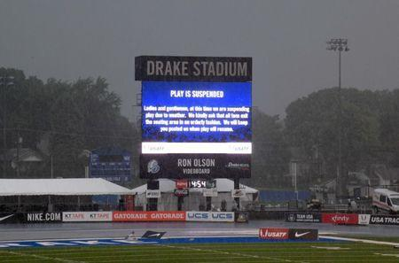 Jun 24, 2018; Des Moines, IA, USA; General overall view of Drake Stadium during a lightning and rain inclement weather delay during the USA Championships at Drake Stadium. Mandatory Credit: Kirby Lee-USA TODAY Sports