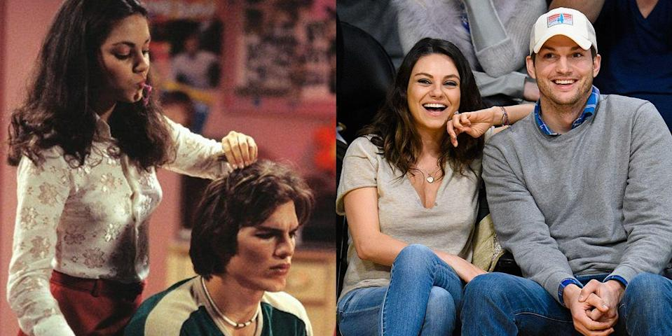<p><strong>The show: </strong><em>That '70s Show</em> (1998-2006)</p><p>Did you know Ashton was Mila's first kiss? Sure, it was on camera for their wildly popular TV show, but still. Despite first meeting when Ashton was 19 and Mila was 14, it wasn't until six years <em>after </em>the show ended that they started dating in 2012. They got married in 2015 and have two children.</p>