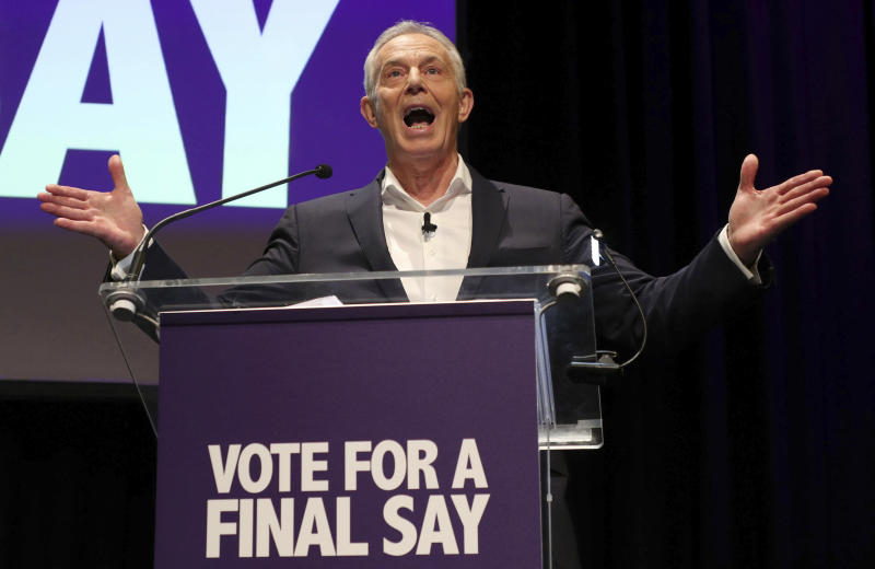 Former British Prime Minister Tony Blair speaks during the 'Final Say' election rally at the Mermaid Theatre in London, Friday Dec. 6, 2019. Britain's Brexit is one of the main issues for political parties, pressure groups and for voters, as the UK prepares for a General Election on Dec. 12. (Yui Mok/PA via AP)