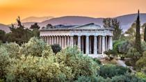 <p>Named after the ancient god of fire, the temple looming over the agora of Athens is dedicated to Hephaestus and his sister Athena, the goddess of war and wisdom. The structure faced destruction by Persian armies during the battle of Plataea in 479 BCE. The Greeks swore never to rebuild this or any other damaged holy site, and they chose to leave them in ruins as a reminder of the war. Some scholars argue that the temple may actually honor the Athenian hero Theseus, whose remains are believed to be housed inside. However, the idea is often refuted, as many of the temple's inscriptions are associated with Hephaestus.</p>
