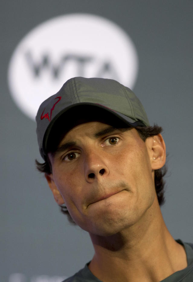 Rafael Nadal, of Spain, gestures during a press conference ahead of the Rio Open ATP in Rio de Janeiro, Brazil, Friday, Feb. 14, 2014. The Rio Open ATP tennis tournament starts Saturday. (AP Photo/Silvia Izquierdo)