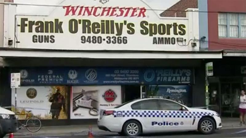 A large number of handguns have been stolen in an armed robbery at a gun shop in Melbourne's north. Photo: 7 News