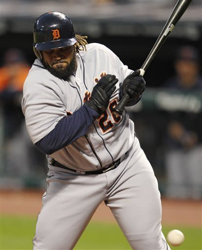 Detroit Tigers' Prince Fielder is hit by a pitch from Cleveland Indians starter Corey Kluber in the second inning of a baseball game on Friday, Sept. 14, 2012, in Cleveland. (AP Photo/Tony Dejak)