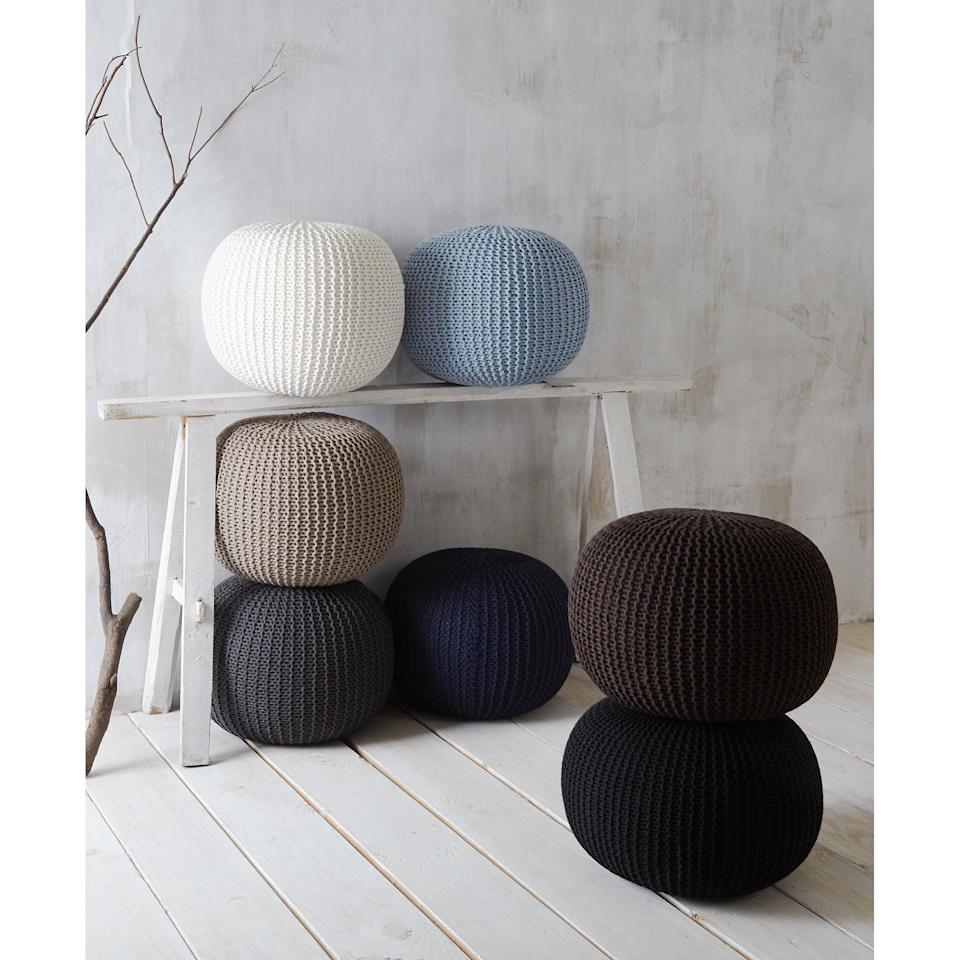 """<p>You can use this <a href=""""https://www.popsugar.com/buy/Urban-Shop-Round-Knit-Pouf-455261?p_name=Urban%20Shop%20Round%20Knit%20Pouf&retailer=walmart.com&pid=455261&price=47&evar1=casa%3Aus&evar9=45784601&evar98=https%3A%2F%2Fwww.popsugar.com%2Fhome%2Fphoto-gallery%2F45784601%2Fimage%2F46364317%2FUrban-Shop-Round-Knit-Pouf&list1=shopping%2Cproducts%20under%20%2450%2Cdecor%20inspiration%2Caffordable%20shopping%2Chome%20shopping&prop13=api&pdata=1"""" class=""""link rapid-noclick-resp"""" rel=""""nofollow noopener"""" target=""""_blank"""" data-ylk=""""slk:Urban Shop Round Knit Pouf"""">Urban Shop Round Knit Pouf</a> ($47) so many ways.</p>"""
