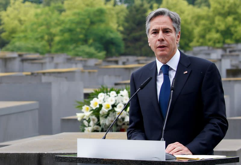 FILE PHOTO: U.S. Secretary of State Blinken visits Holocaust Memorial as a part of Holocaust Dialogue signing event in Berlin