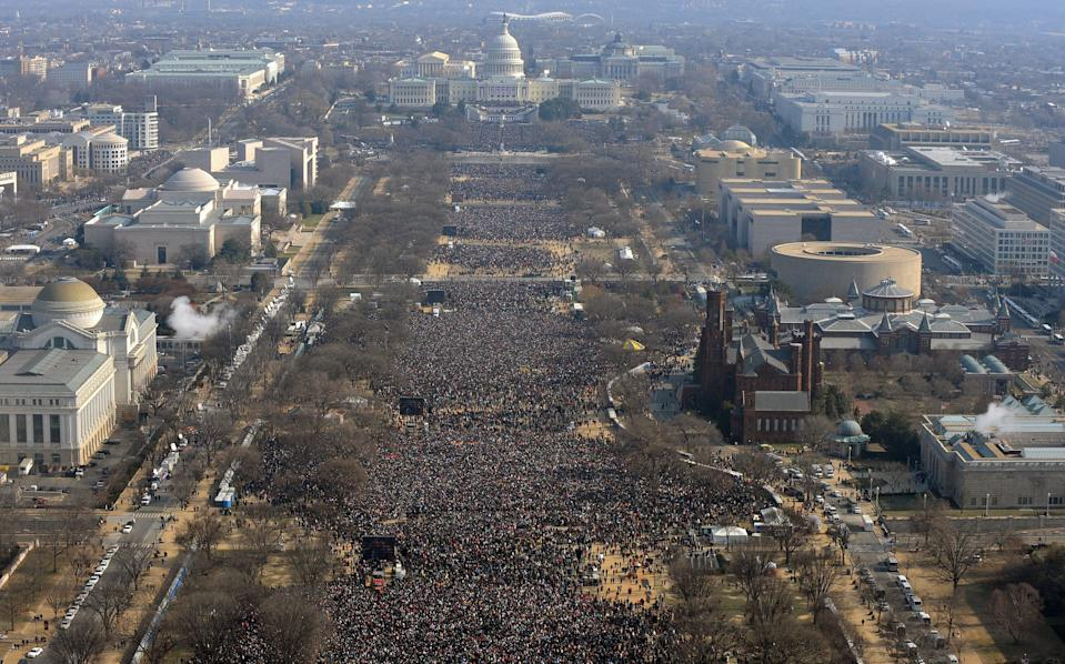 The inauguration of Barack Obama in 2009 holds the record for the largest crowd at 1.8 millionAFP via Getty Images