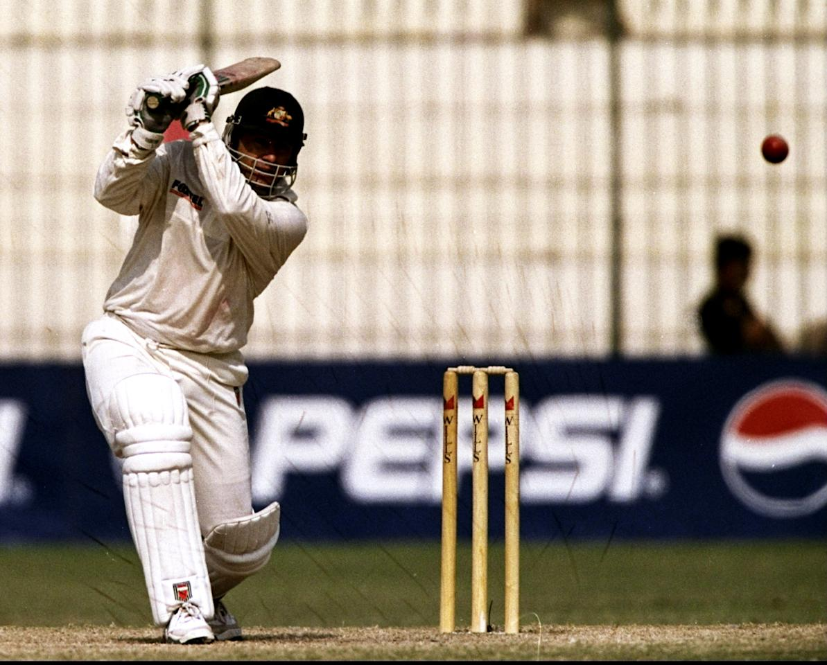 19 Oct 1998:  Mark Taylor of Australia in action during the Second Test against Pakistan in Peshawar, Pakistan. Mark Taylor scored a record number of runs. \ Mandatory Credit: Ben Radford /Allsport