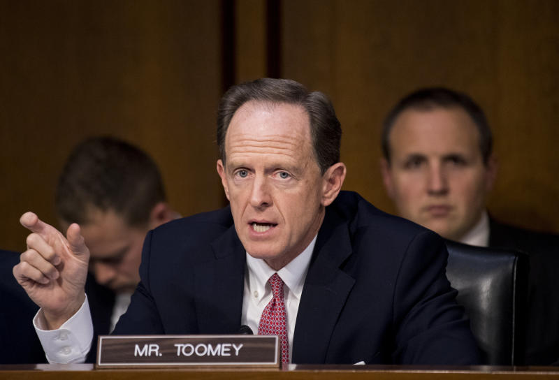 Pat Toomey: Families aren't being separated at the border very much. OK, maybe they are. OK, also we could be headed for a humanitarian crisis. Who knows! (Bill Clark via Getty Images)