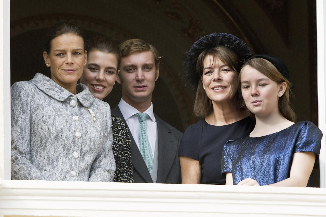 MONACO - NOVEMBER 19:  (L-R) Princess Stephanie of Monaco, Charlotte Casiraghi, Pierre Casiraghi, Princess Caroline of Hanover and Princess Alexandra of Hanover attend the National Day Parade as part of Monaco National Day Celebrations on November 19, 2011 in Monaco, Monaco.  (Photo by Pascal Le Segretain/Getty Images)