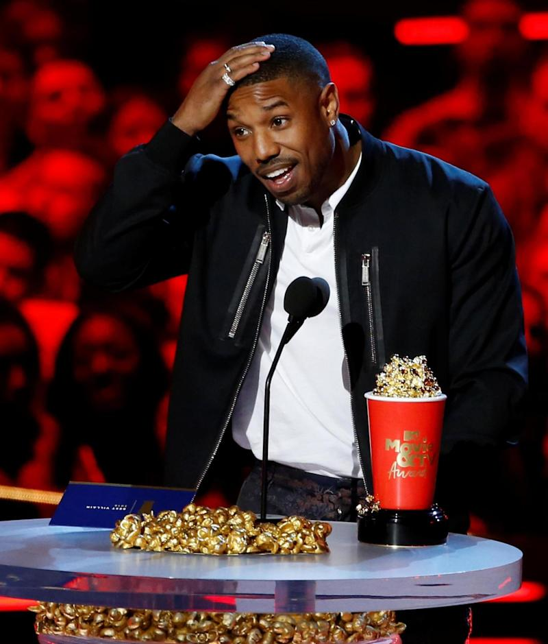 Michael B. Jordan accepts the Best Villain award at the 2018 MTV Movie and TV Awards (REUTERS)